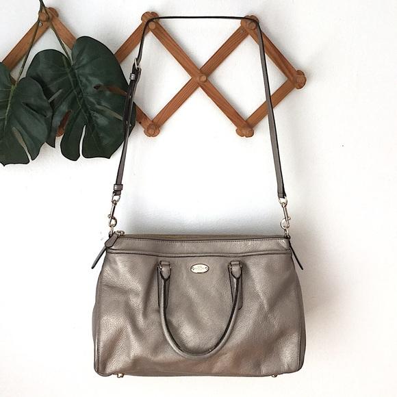 Coach Handbags - Coach | Crossbody Satchel Leather Bag Metallic